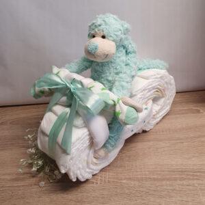 Luiertaart fiets tweeling groen