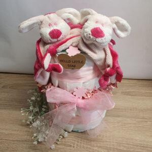 Luiertaart tweeling roze tuthondje1